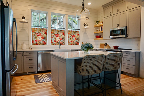 kitchen with island and gray cabinets